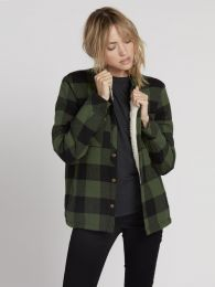 Camasa Volcom Plaid About You LS Green S